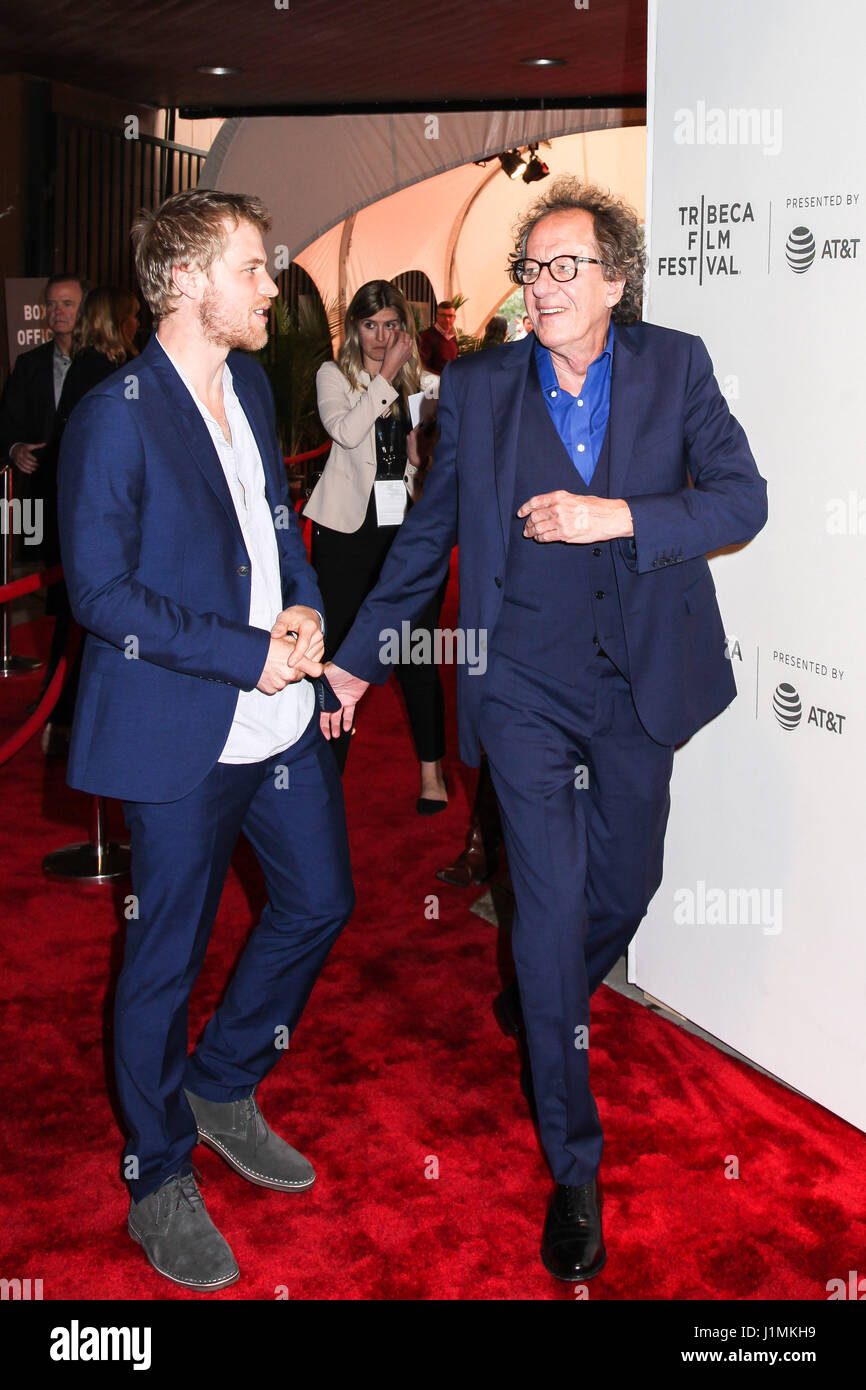NEW YORK, NY - APRIL 20: Actors Johnny Flynn and Geoffrey Rush attend the 'Genius' Premiere during the 2017 - Stock Image