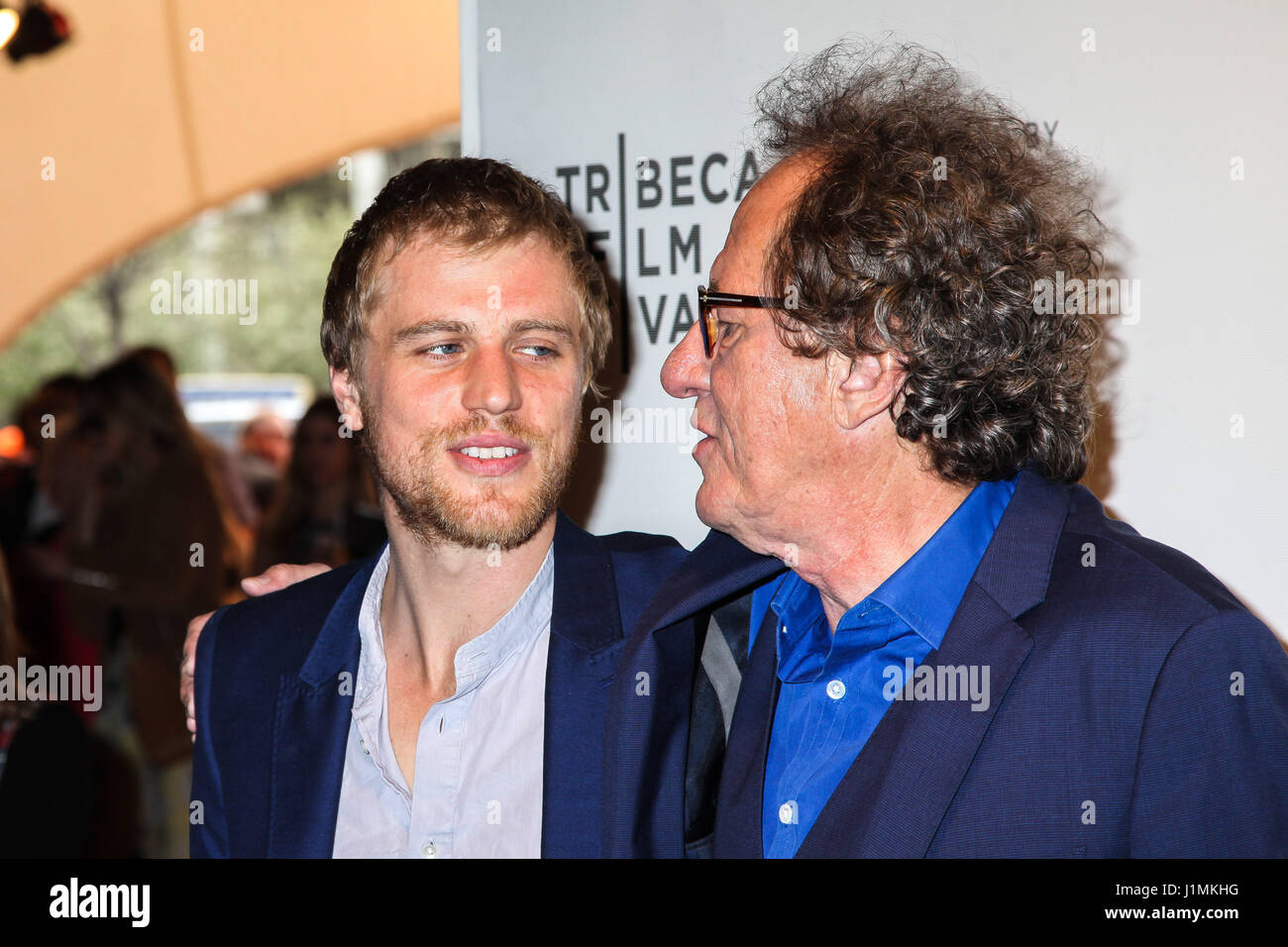 Actors Johnny Flynn and Geoffrey Rush attend the 'Genius' Premiere during the 2017 Tribeca Film Festival - Stock Image