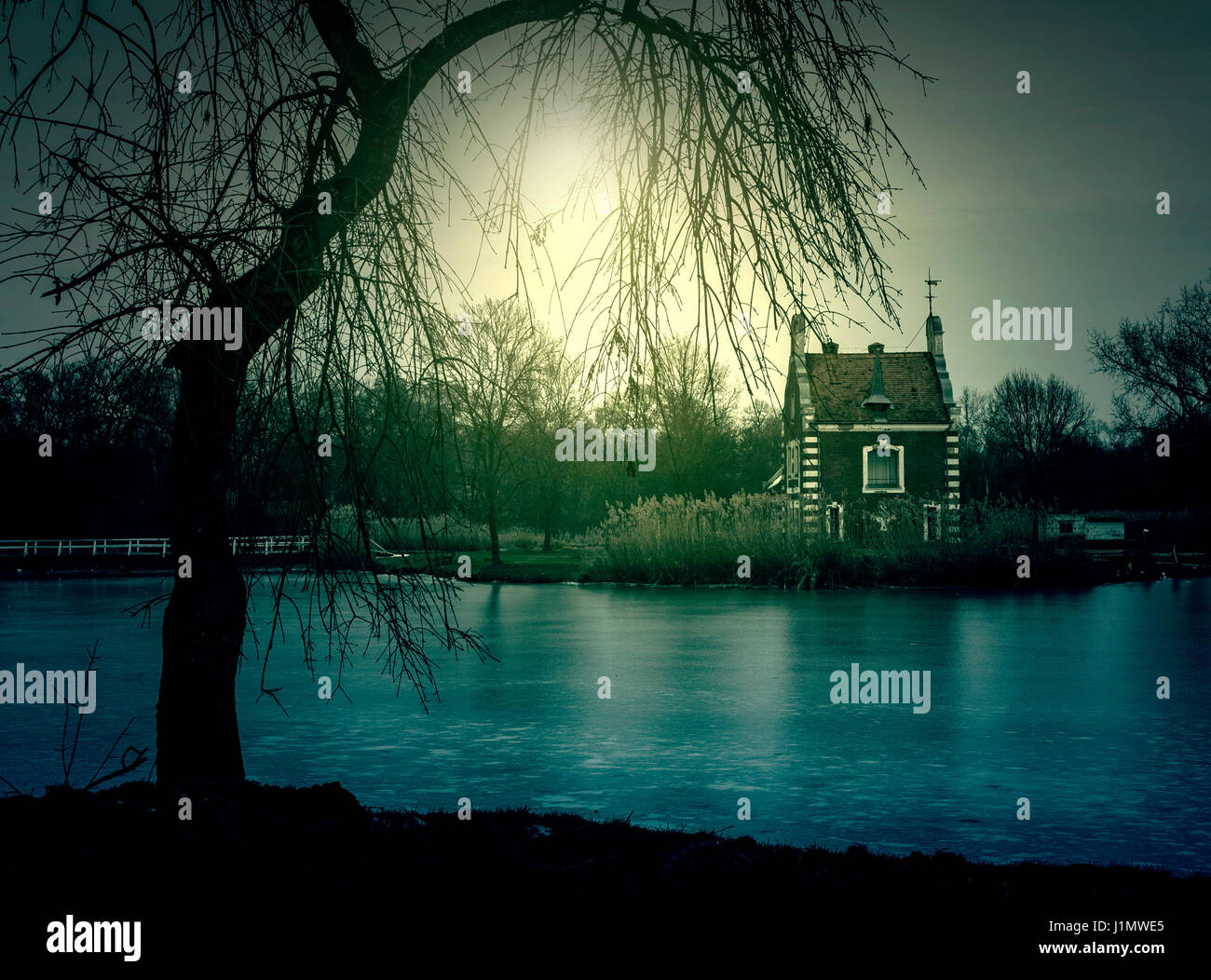 Spooky abandoned castle - Stock Image