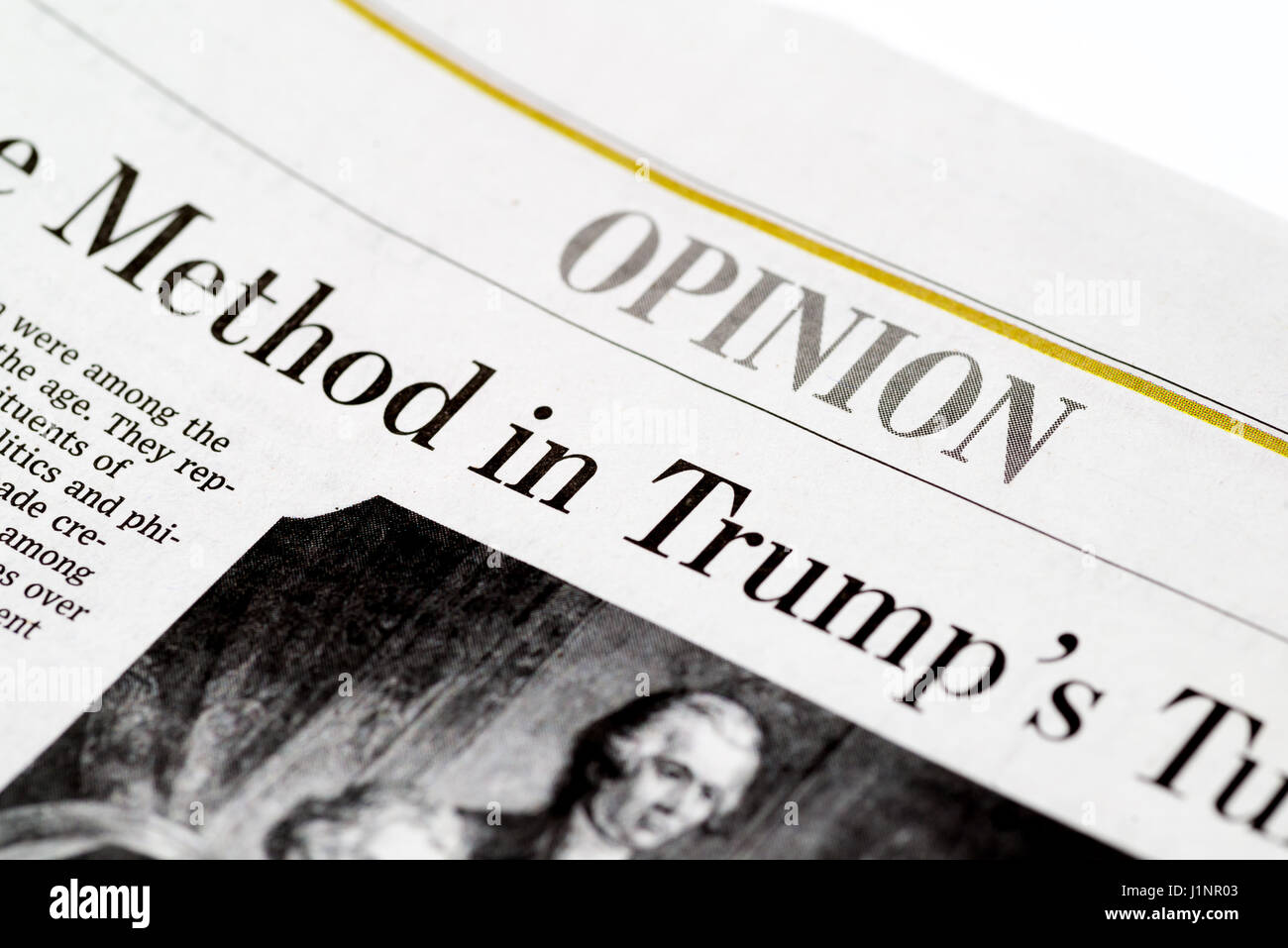 Chicago USA-Feb 12 2017:The Wall Street Journal Newspaper,Opinion Section (for editorial use only) - Stock Image