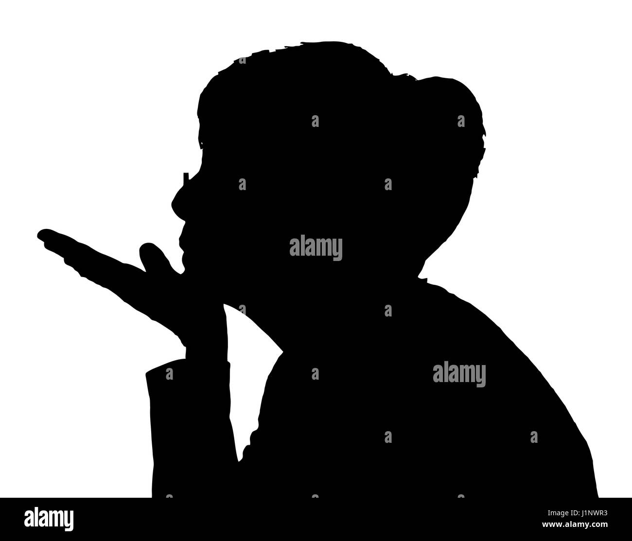 Silhouette Girl Profile Blowing On Dandelion Stock Vector ...  Face Profile Silhouette Blowing