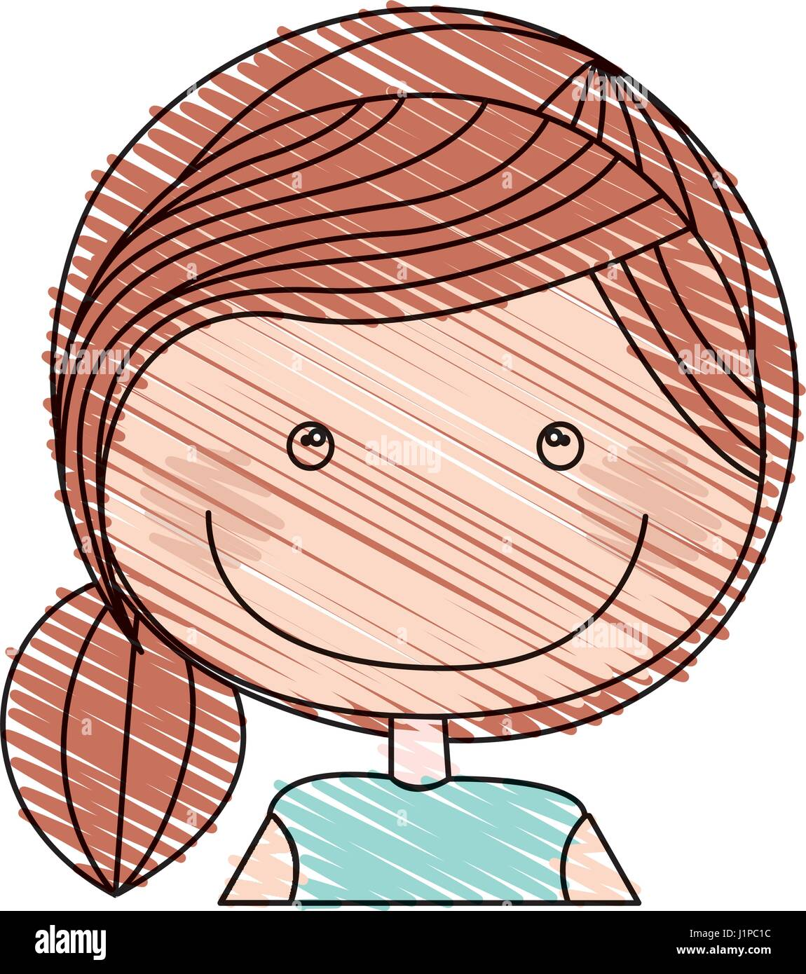 color pencil drawing of caricature half body girl with ponytail hair Stock Vector