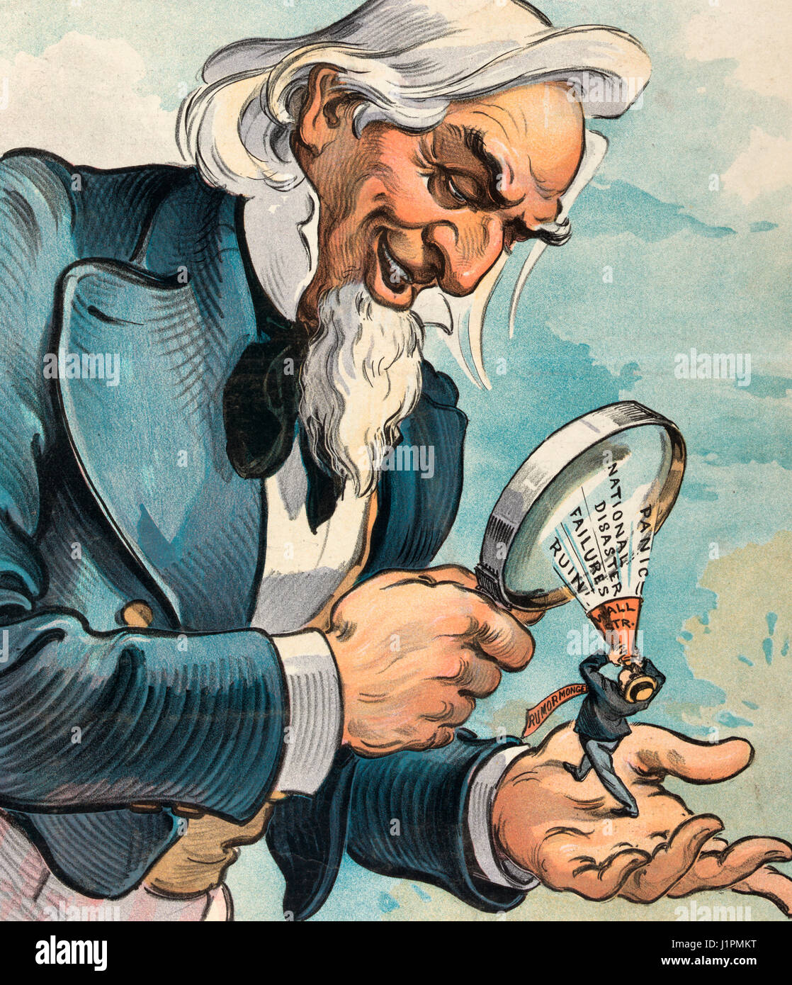 The Wall Street rumor-monger.  Illustration shows Uncle Sam using a magnifying glass to see in his left hand a diminutive - Stock Image