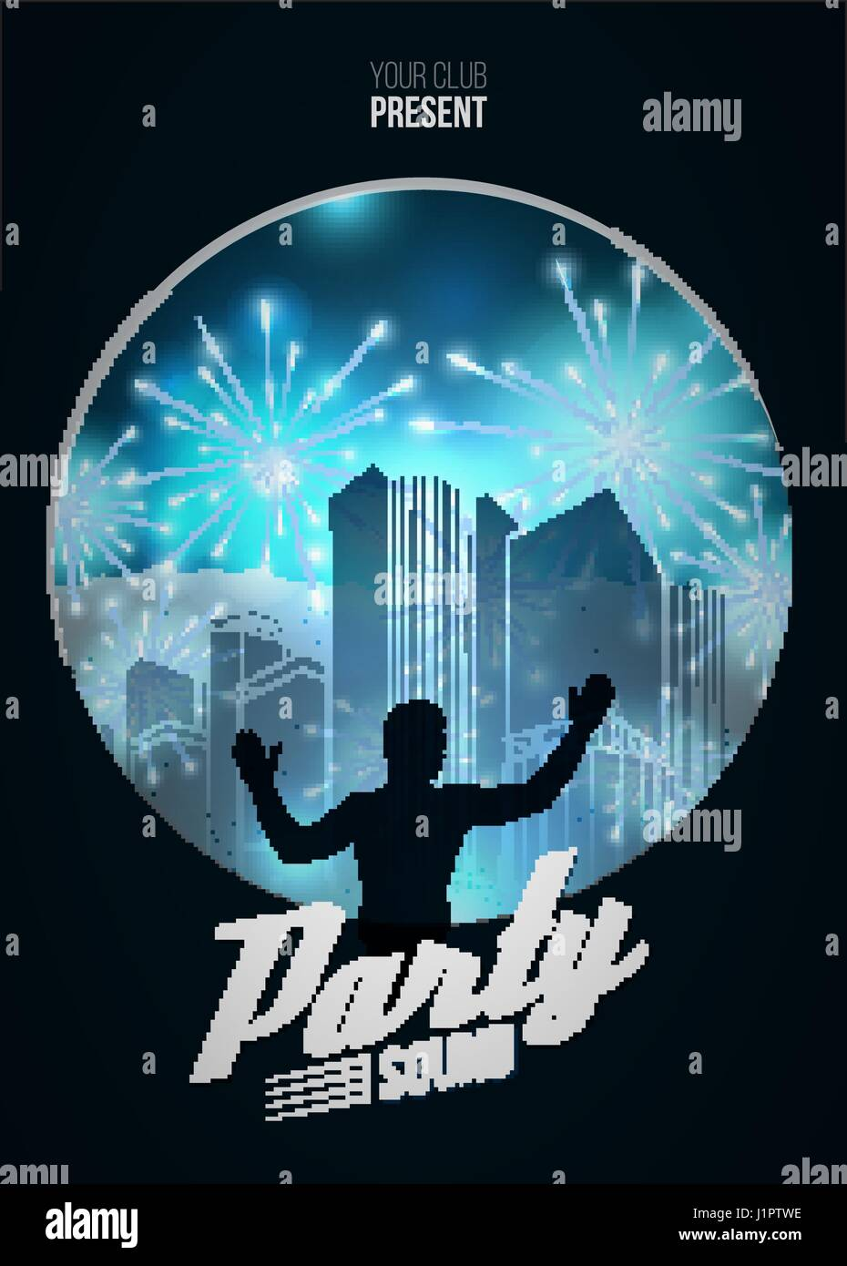 Party Dance Poster Background Template with DJ silhouette on blue ...