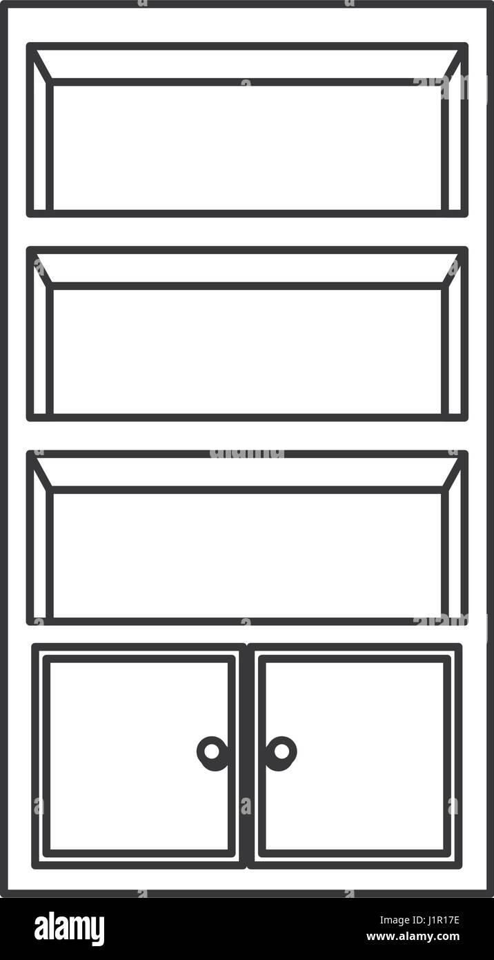 Bookcase Furniture Wooden Outline