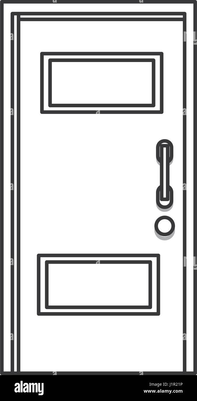 Door Wood Entry Close Outline Stock Vector Art