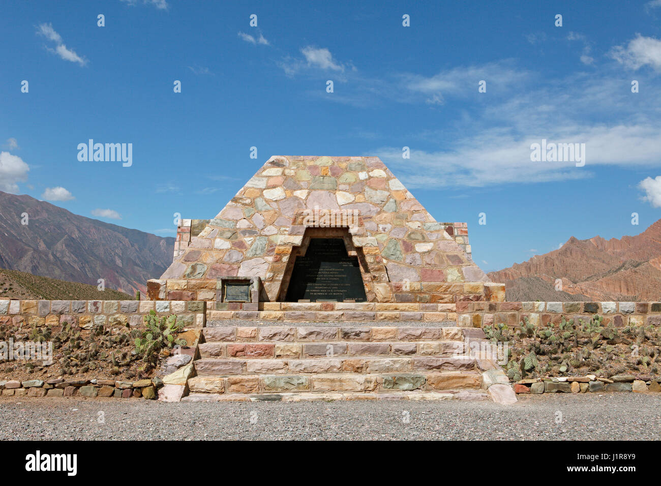 Monument to honor the discoverers Ambrosetti and Debenedetti, Pucará de Ticara, Humahuaca ravine, Jujuy Province, - Stock Image