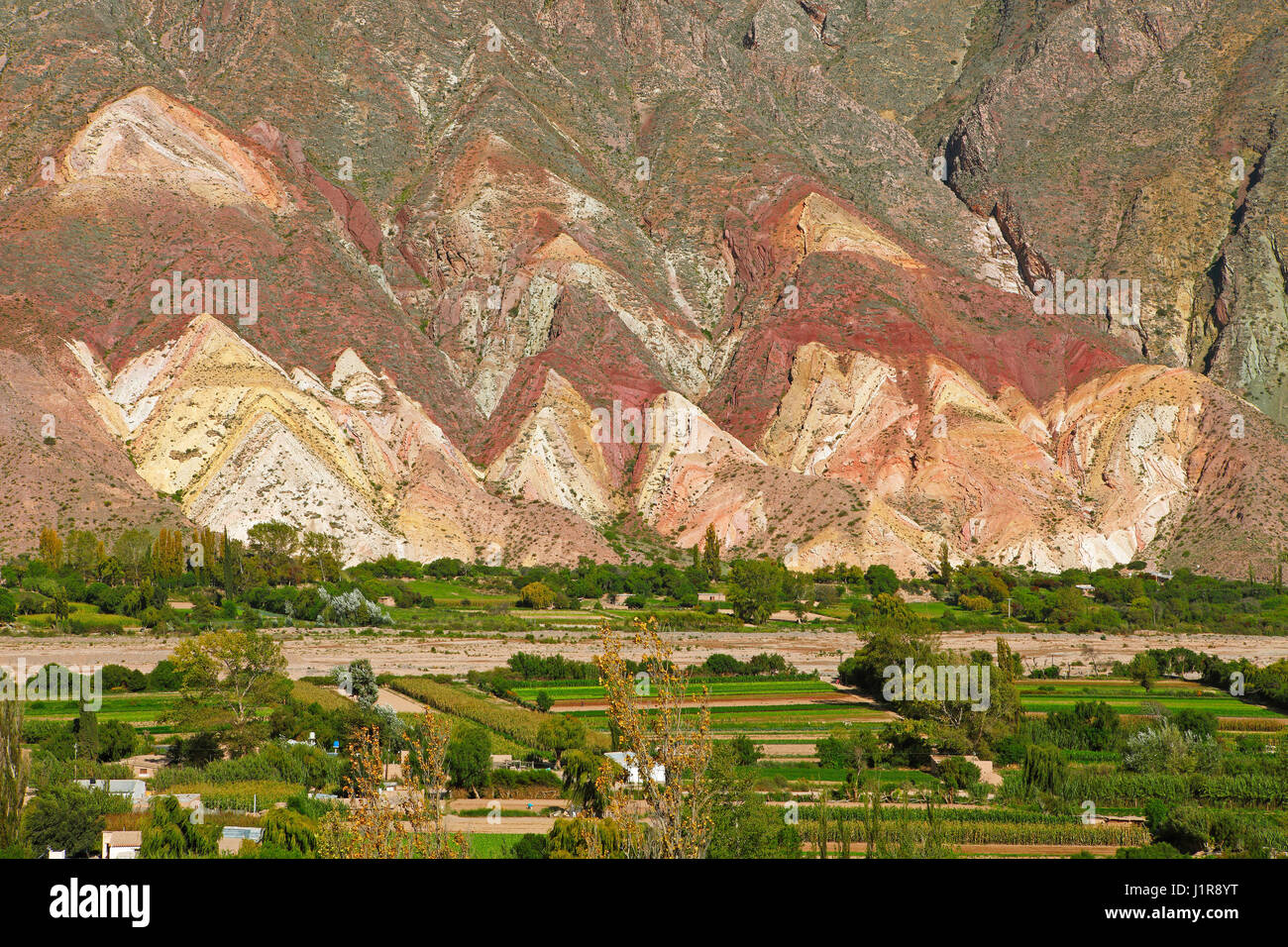 Colorful rock layers, Painter's Palette, Paleta del Pintor, Maimará, Humahuaca ravine, Jujuy Province, - Stock Image