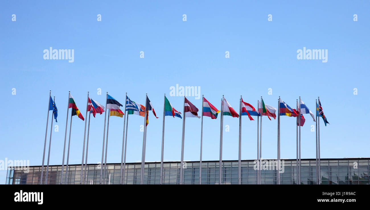 International flags, blue sky, European Parliament, Strasbourg, Alsace, France Stock Photo