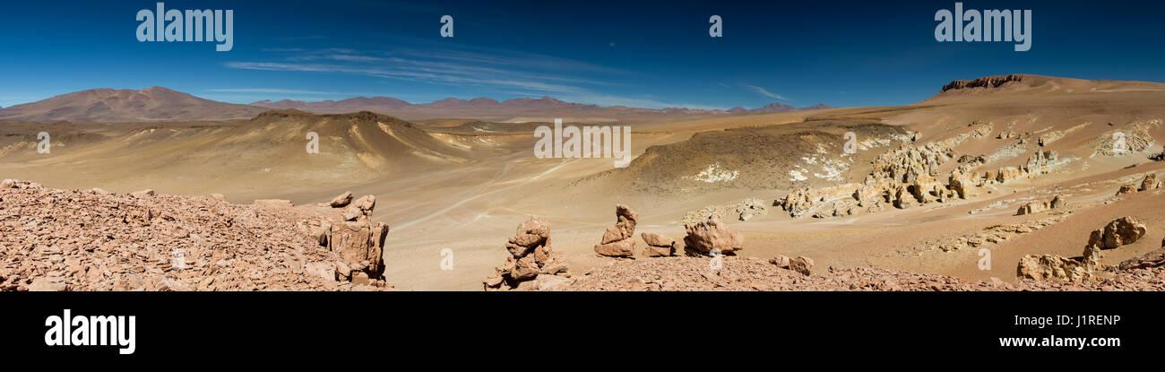 Panorama of the Salar de Tara, Atacama Desert, Chile Stock Photo