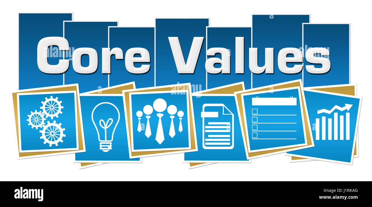 Core Values Business Symbols Blue Squares Stripes - Stock Image