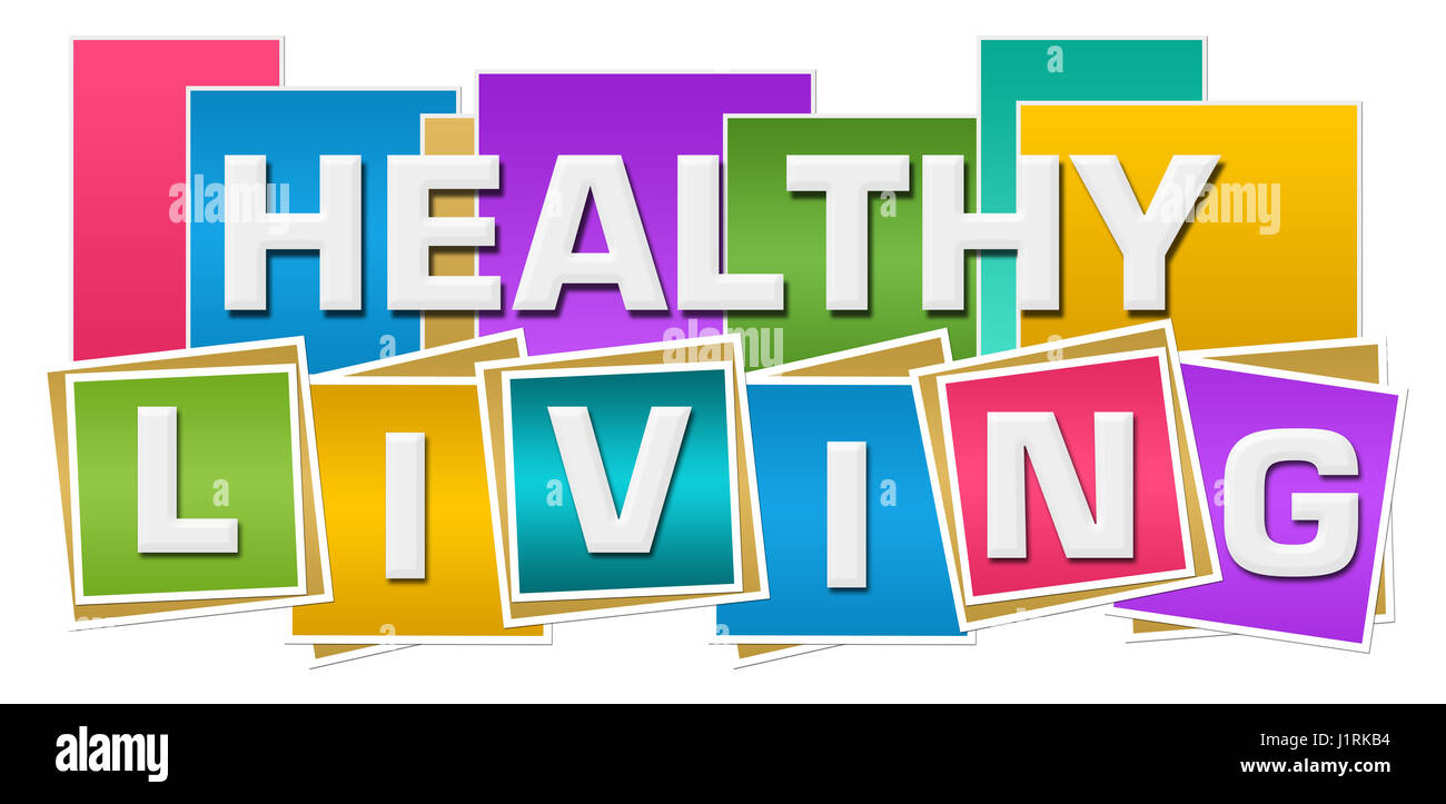 Healthy Living Colorful Squares Stripes - Stock Image