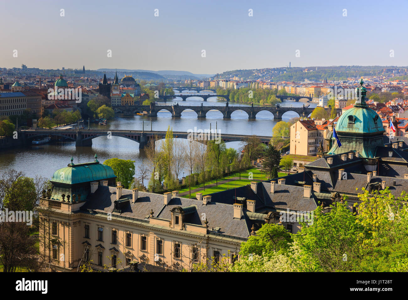 The view from Letenske Sady over the city of Prague and the river Vitava in the Czech Republic Stock Photo