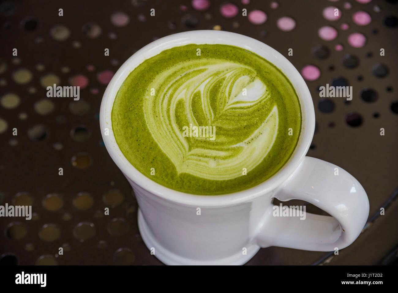 Close up shot of Matcha Milk Drinks - Stock Image