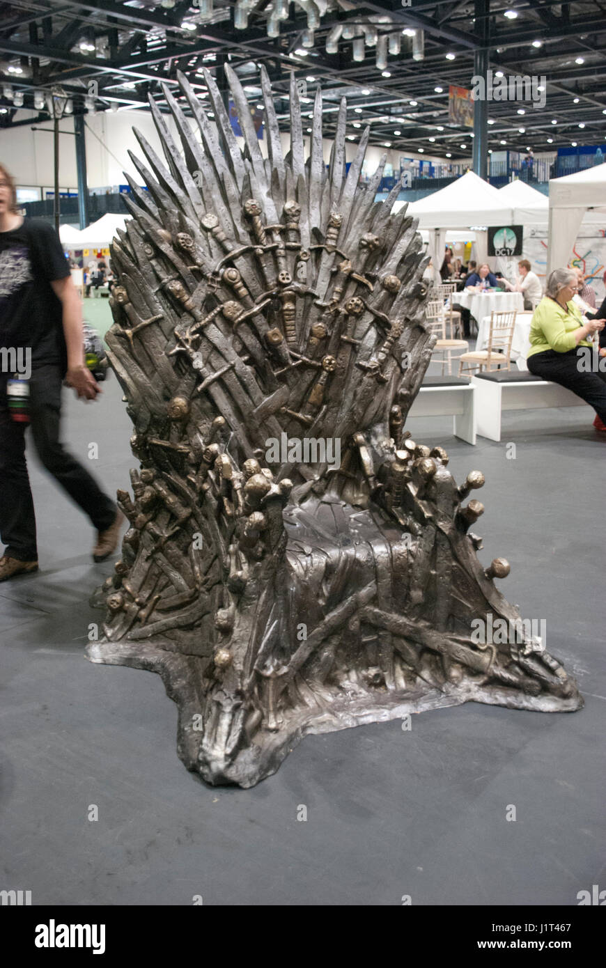 Throne from GRR Martin's Game Of Throne / A Story of Ice and Fire at the Worldcon / Loncon Science fiction convention Stock Photo