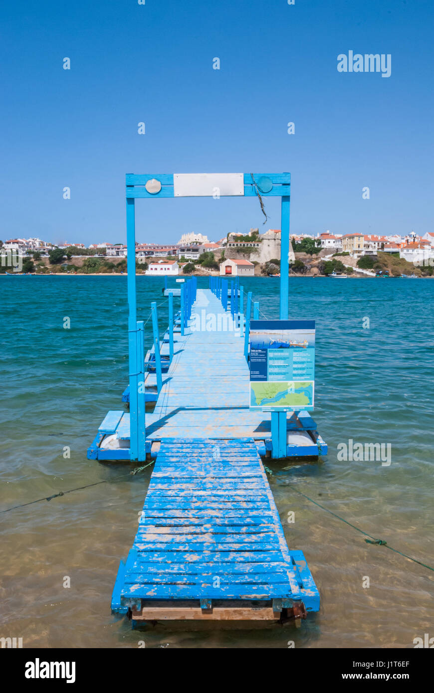 Platform for the entrance of boat passengers from the beach - Stock Image