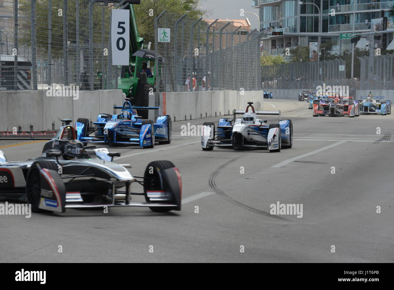 Formula E Race Miami Streets - Stock Image