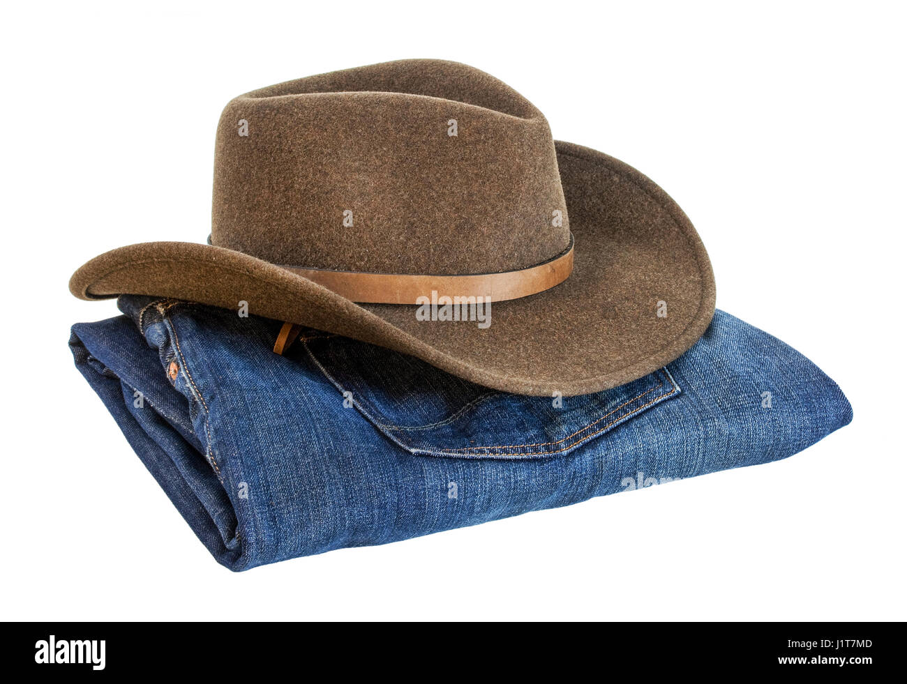 felt wool brown cowboy hat and blue folded jeans isolated white background 1c7e5ee996e