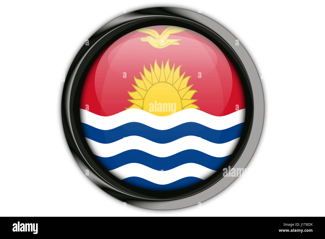 Kiribati  flag in the button pin Isolated on White Background - Stock Image