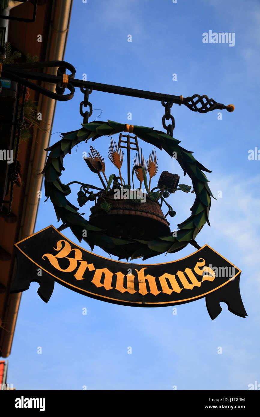Brauhaus sign, Quedlinburg, Saxony-Anhalt, Germany, Europe - Stock Image