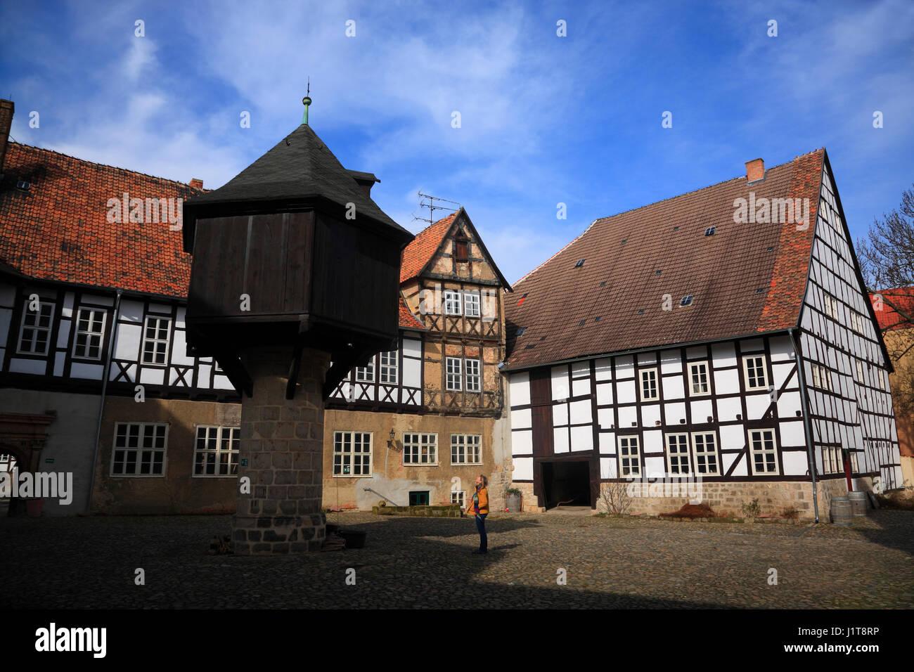 Adelshof, Quedlinburg, Saxony-Anhalt, Germany, Europe - Stock Image