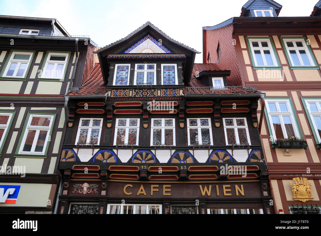 Traditional cafe Wien, Wernigerode, Saxony-Anhalt, Germany, Europe - Stock Image