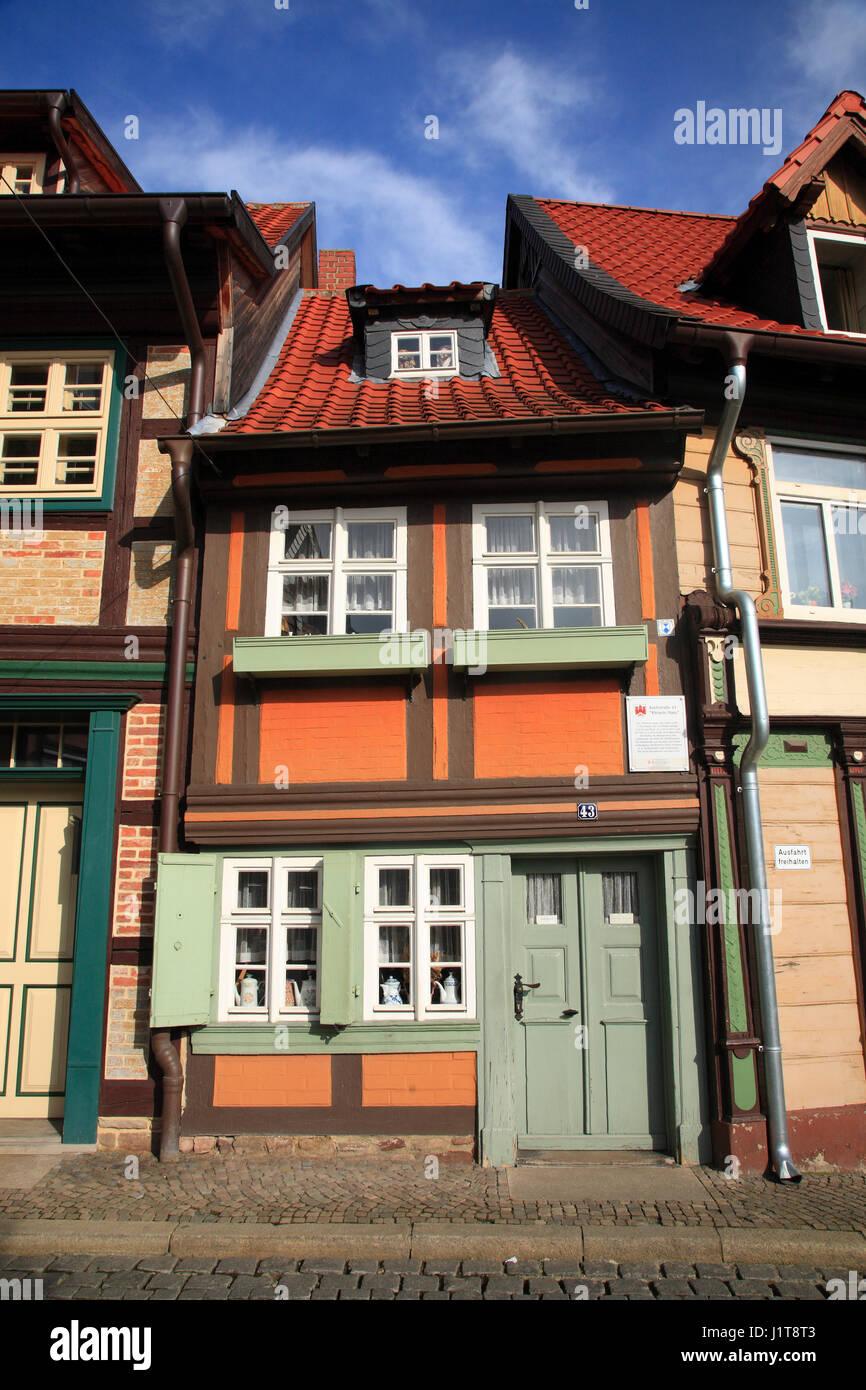 Smallest frame house, Wernigerode, Saxony-Anhalt, Germany, Europe - Stock Image