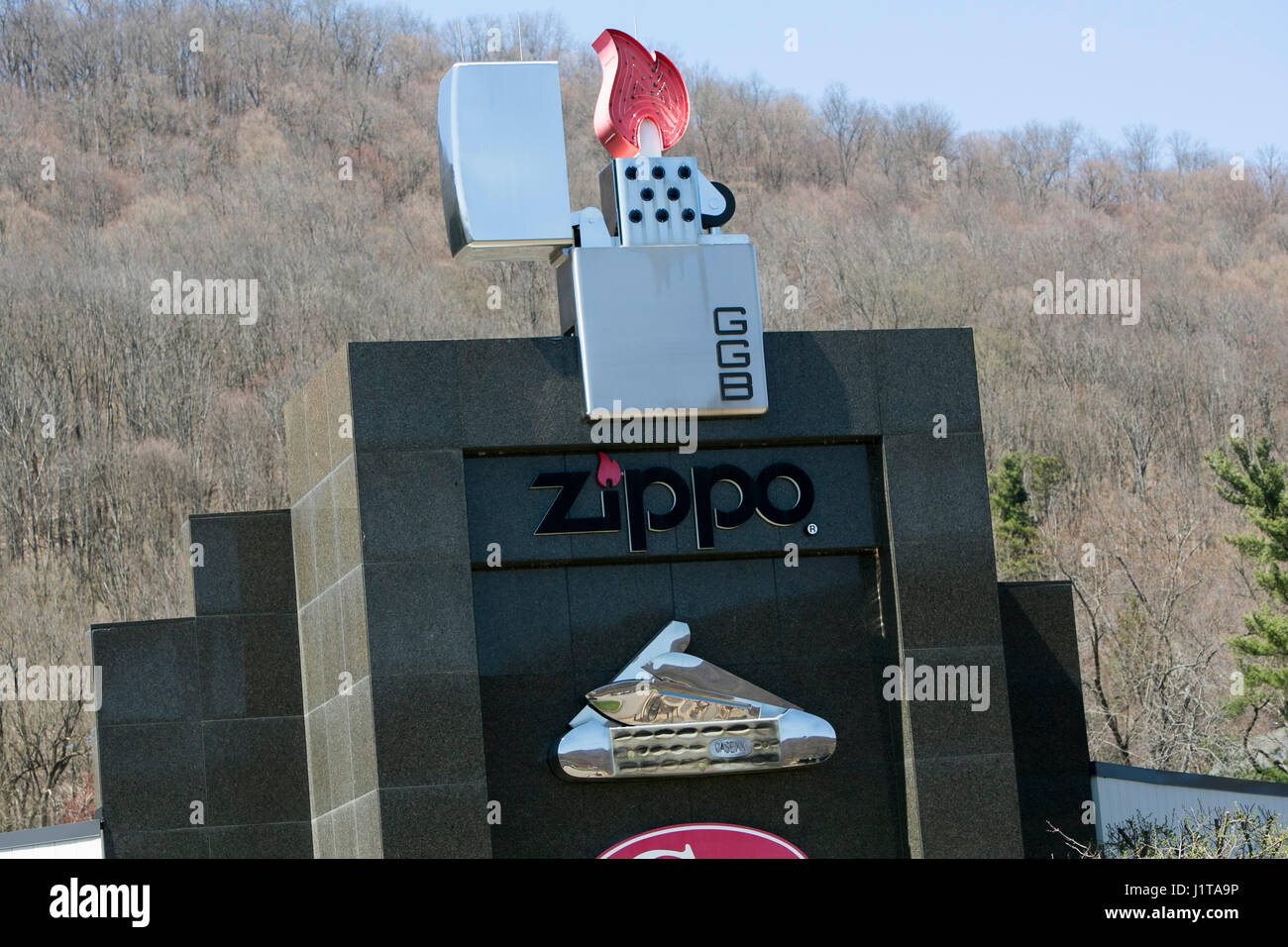 A logo sign outside of the Zippo/Case visitors center of the Zippo Manufacturing Company, maker of Zippo lighters, - Stock Image