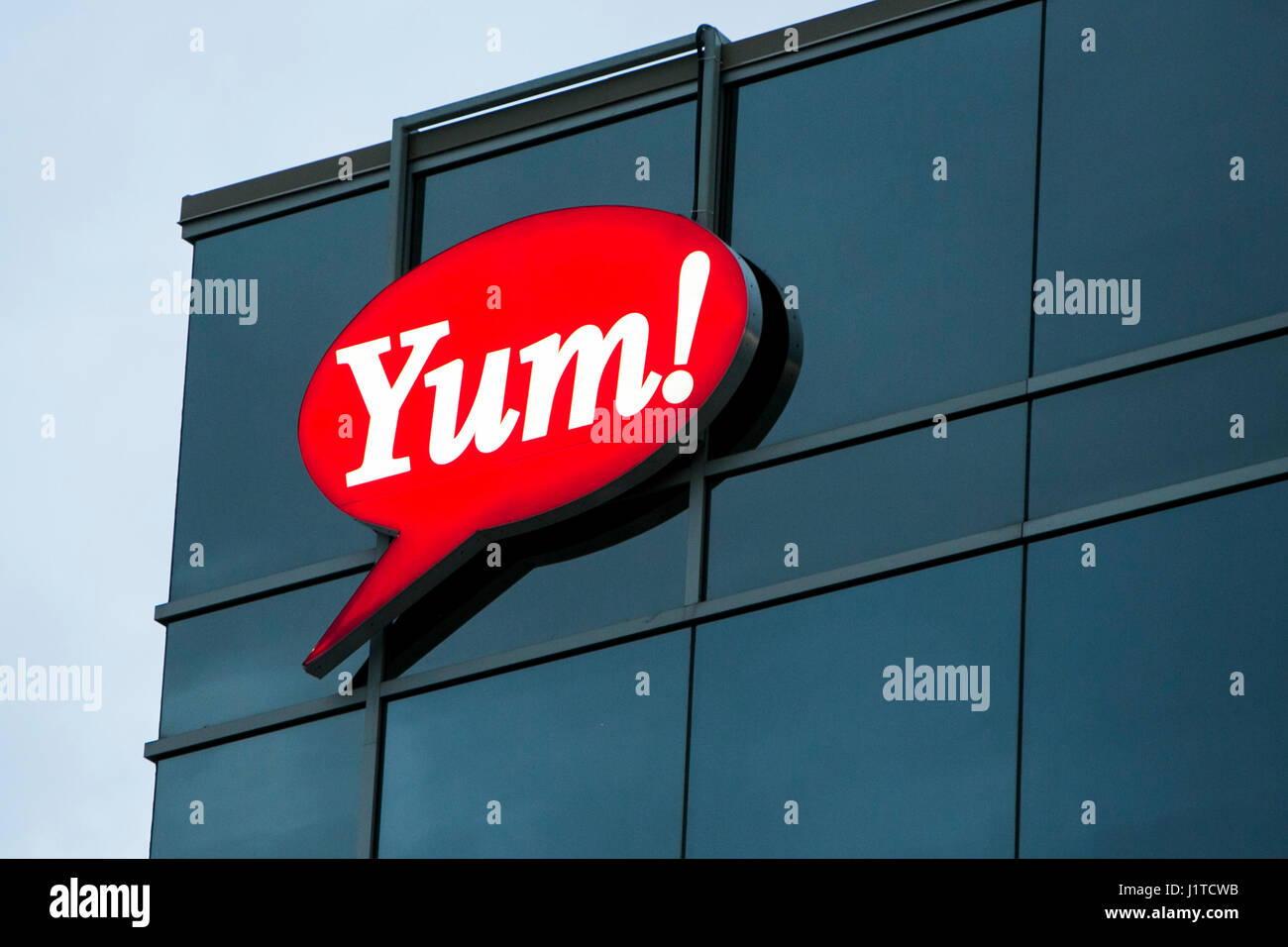 A logo sign outside of a facility occupied by Yum! Brands, Inc., in Vaughan, Ontario, Canada, on April 16, 2017. - Stock Image