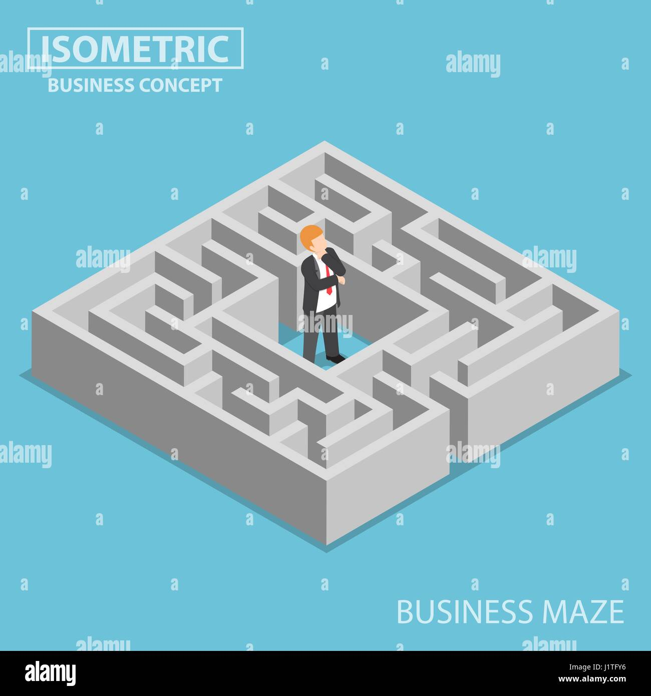 Flat 3d isometric confused businessman stuck in a maze, finding a
