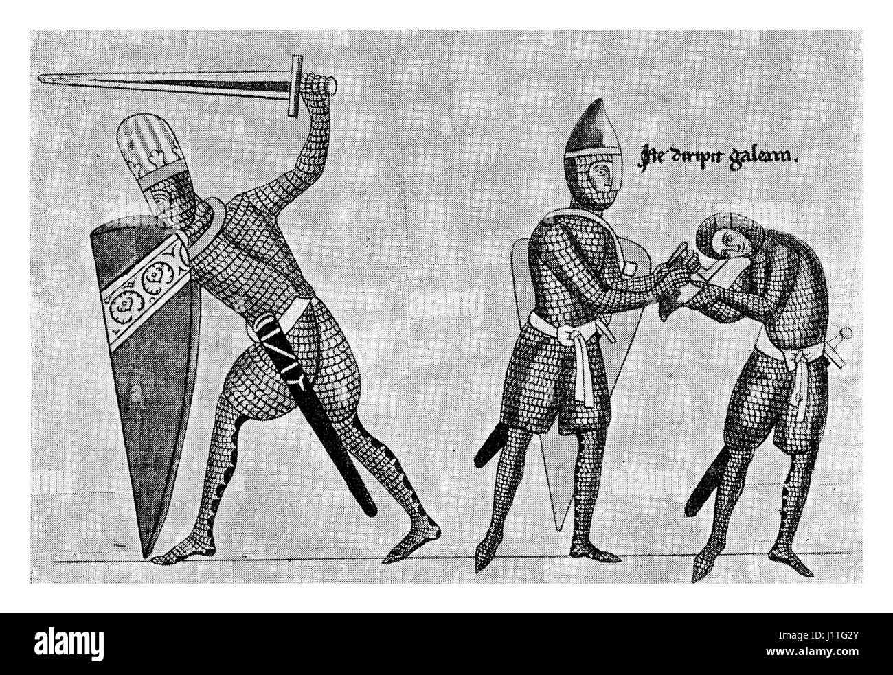XII century: weapons and armours, soldiers dressing - Stock Image