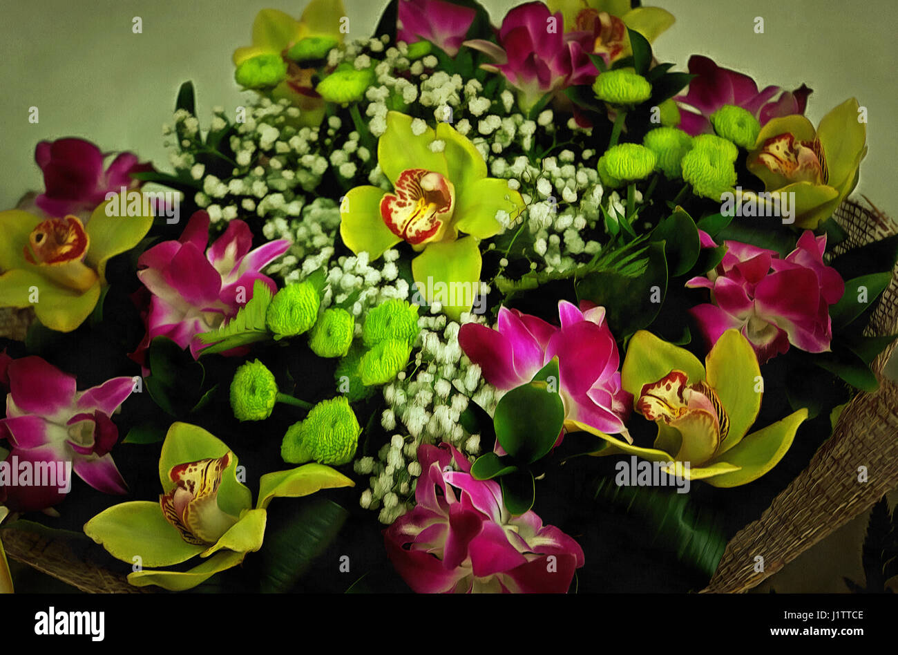 Illustrations Flowers Bouquet Painting Orchids Stock Photos ...