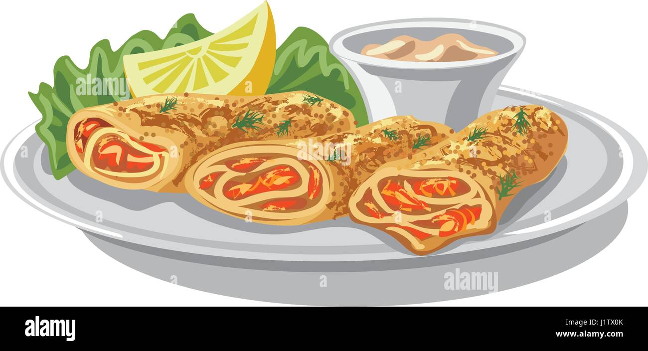 illustration of baked pancakes with salmon and sauce - Stock Vector
