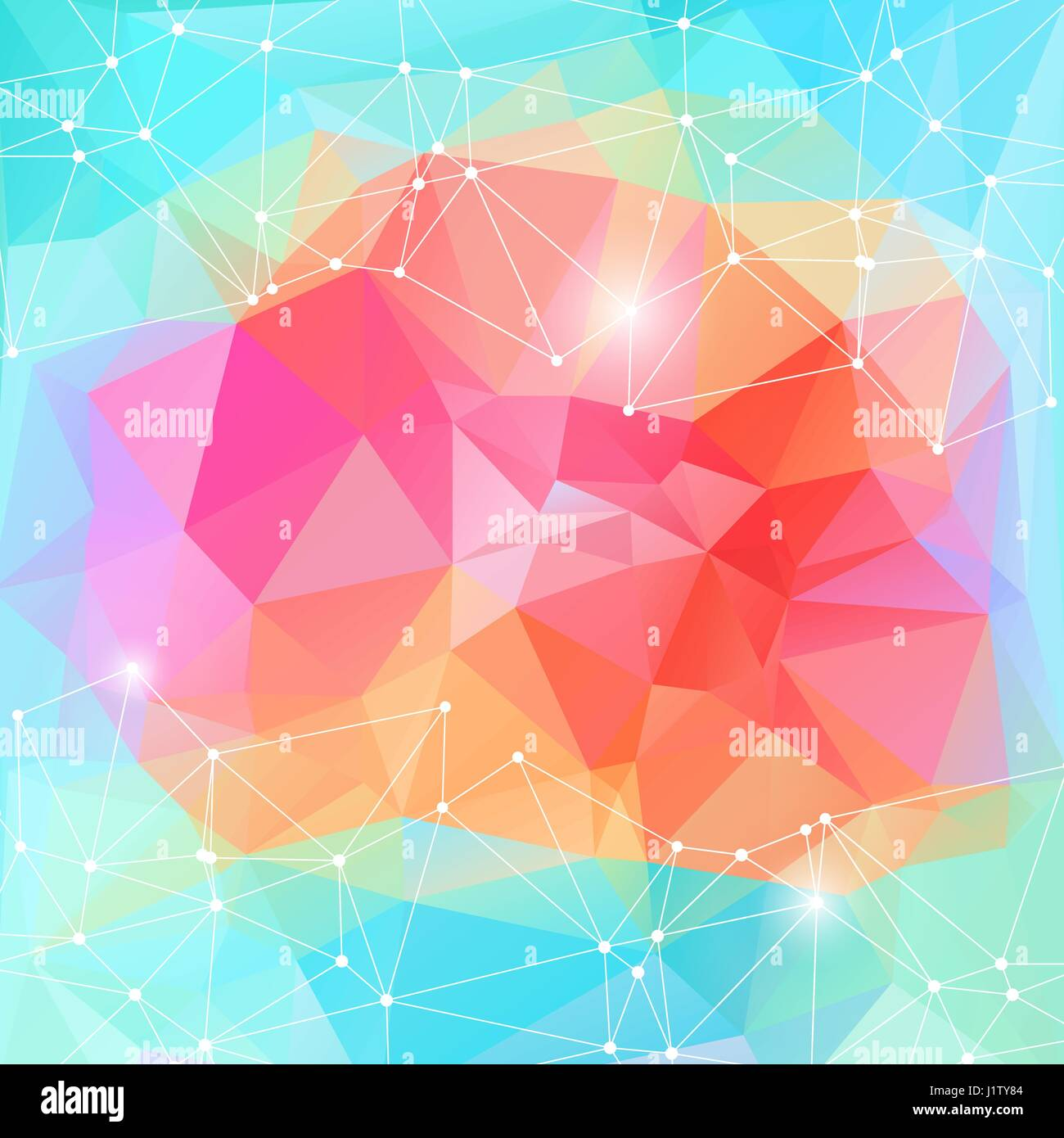 Bright color polygonal vector background  Motion cyber space