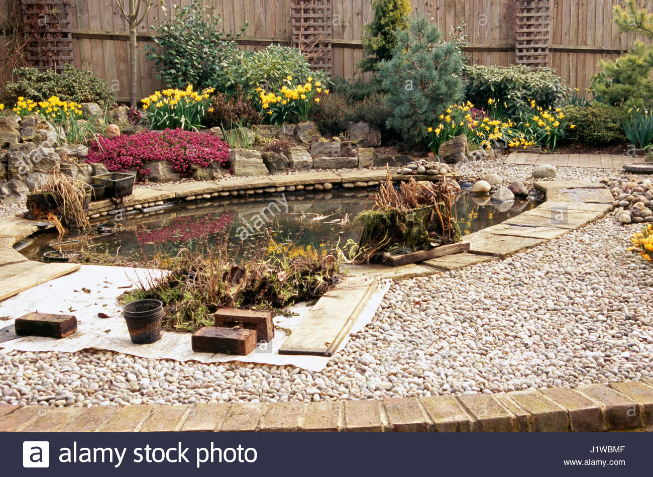POND TO BE FILLED IN TO MAKE GARDEN AND AREA SAFE FOR CHILDREN Stock ...