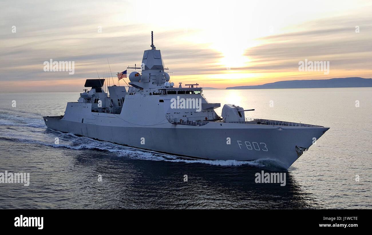 The Royal Netherlands Navy De Zeven Provincien-class frigate HNLMS Tromp steams underway during exercise Joint Warrior - Stock Image