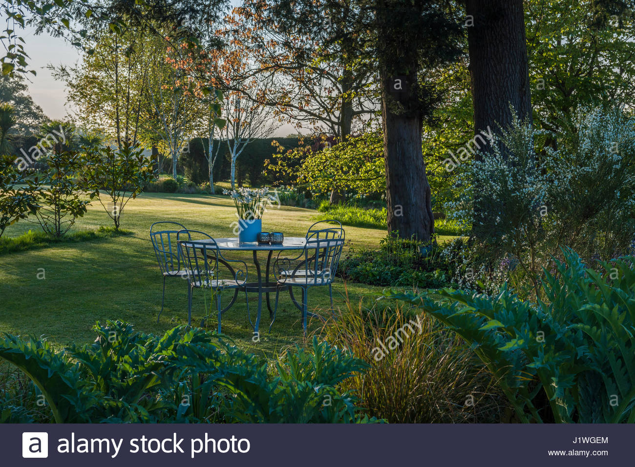 garden table and chairs - Stock Image