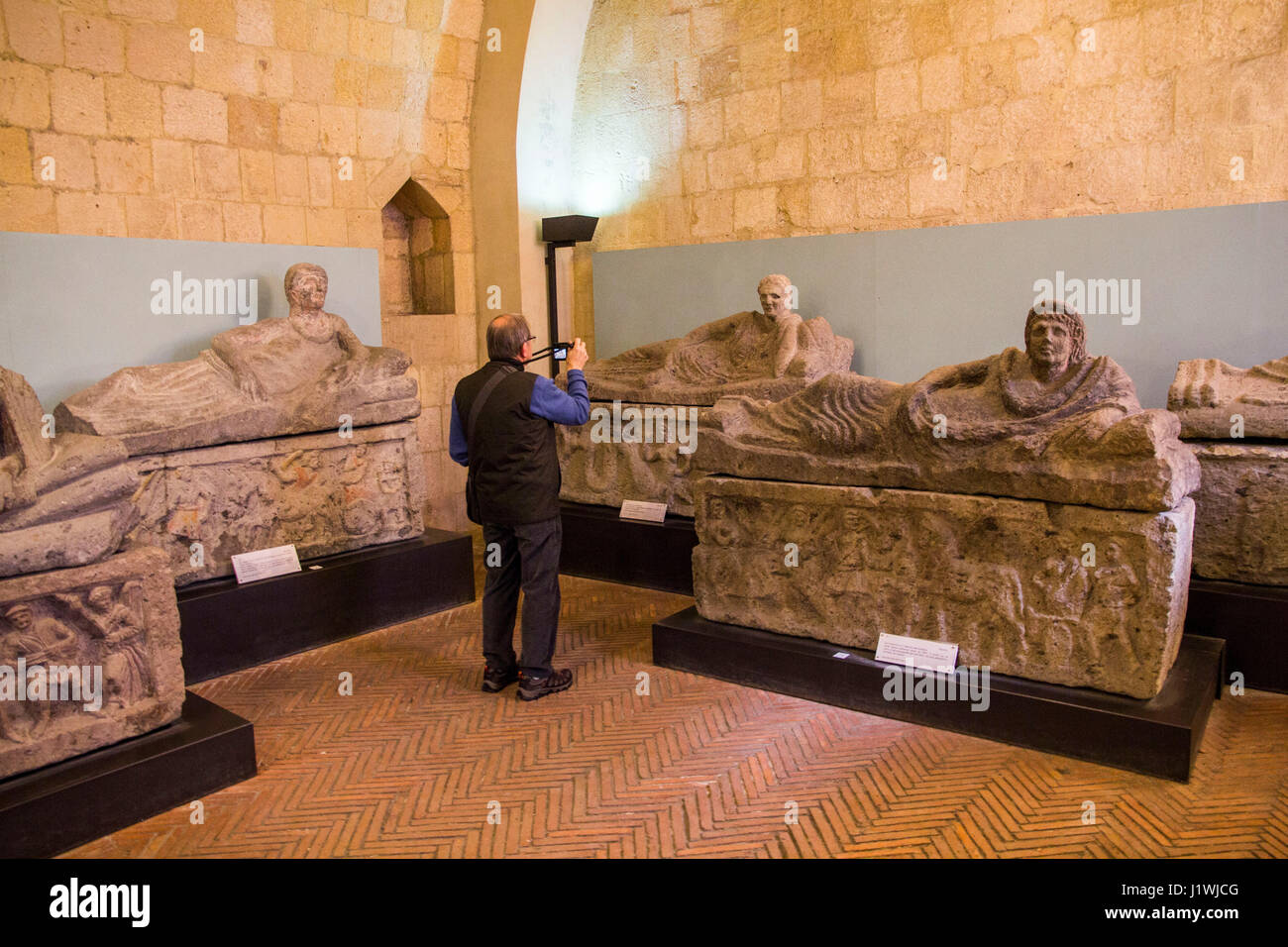 At the National Archaeology Museum in Tarquinia, visitors can  examine up-close a splendid collection of marble - Stock Image