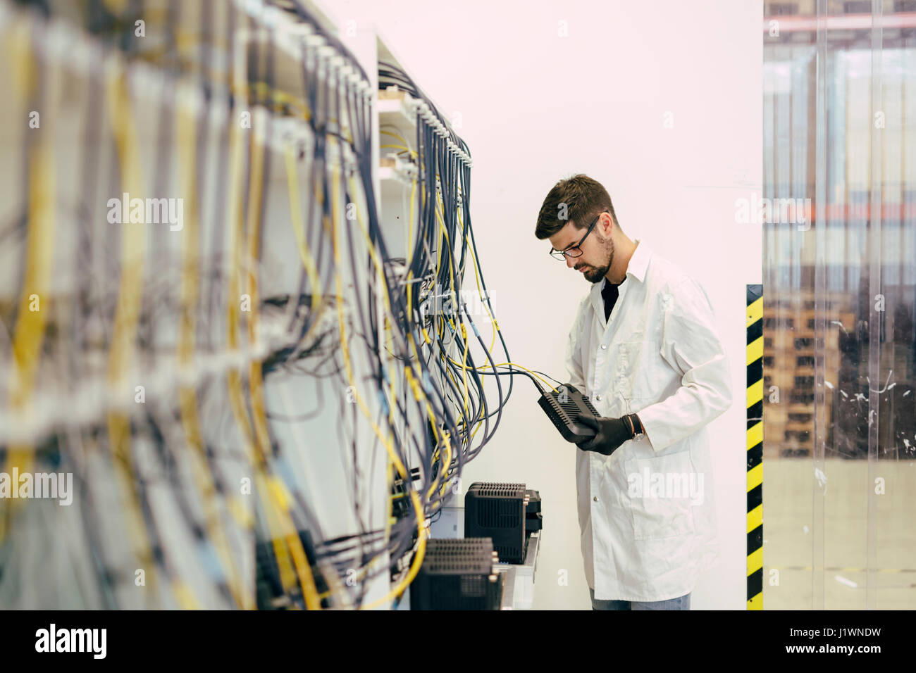 Professional network hardware inspection - Stock Image