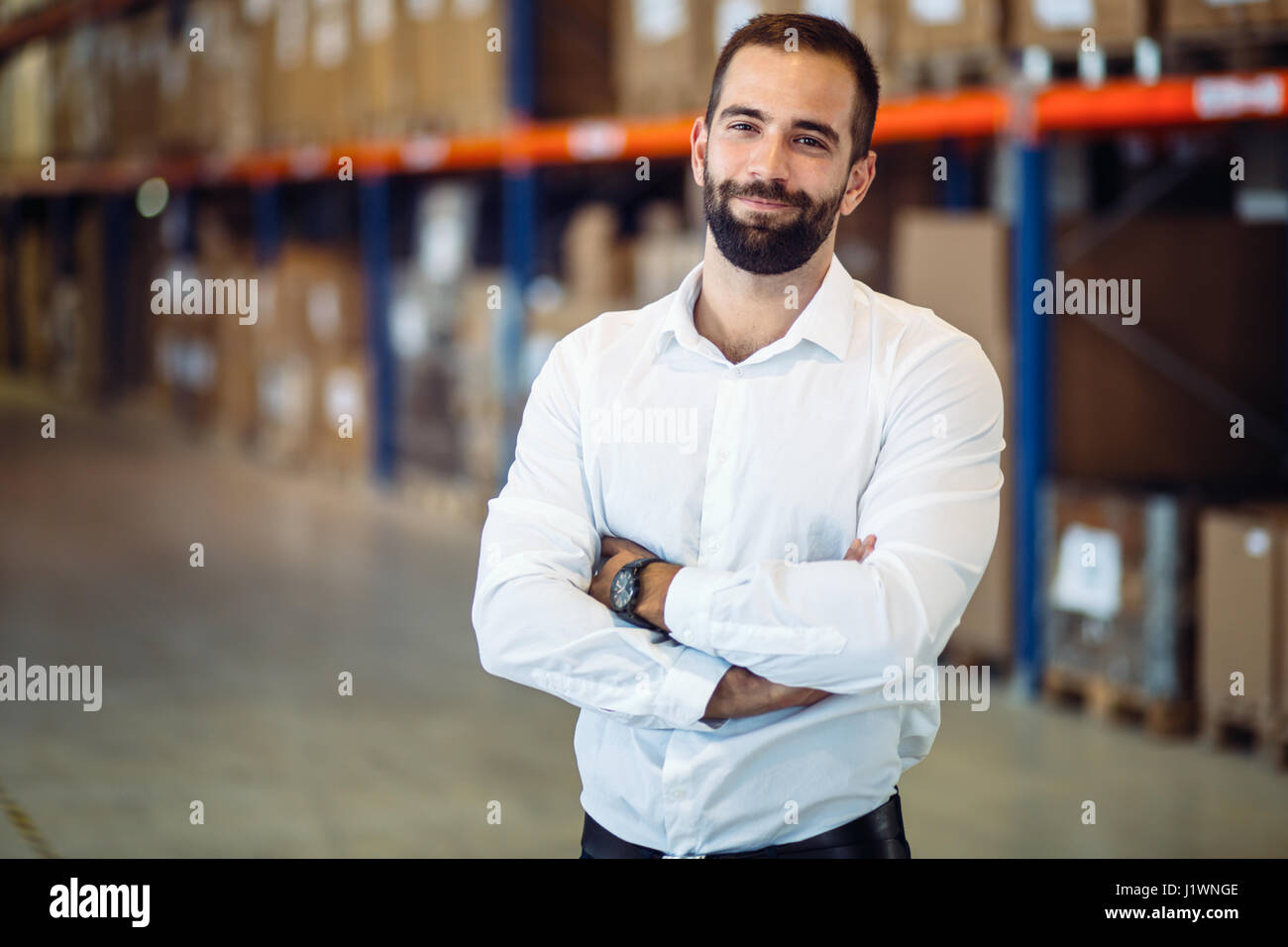 Logistics manager warehouse portrait - Stock Image