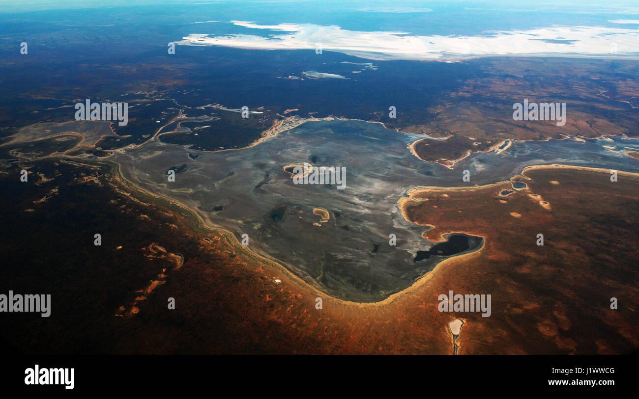 Aerial view of lake Macfarlane in South Australia. - Stock Image