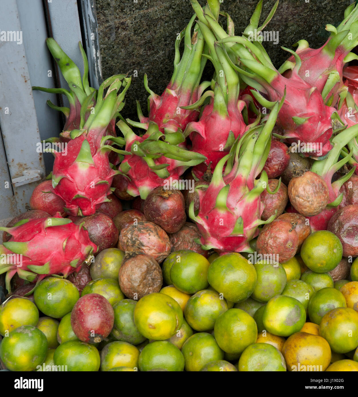 dragon fruit and citrus - Stock Image