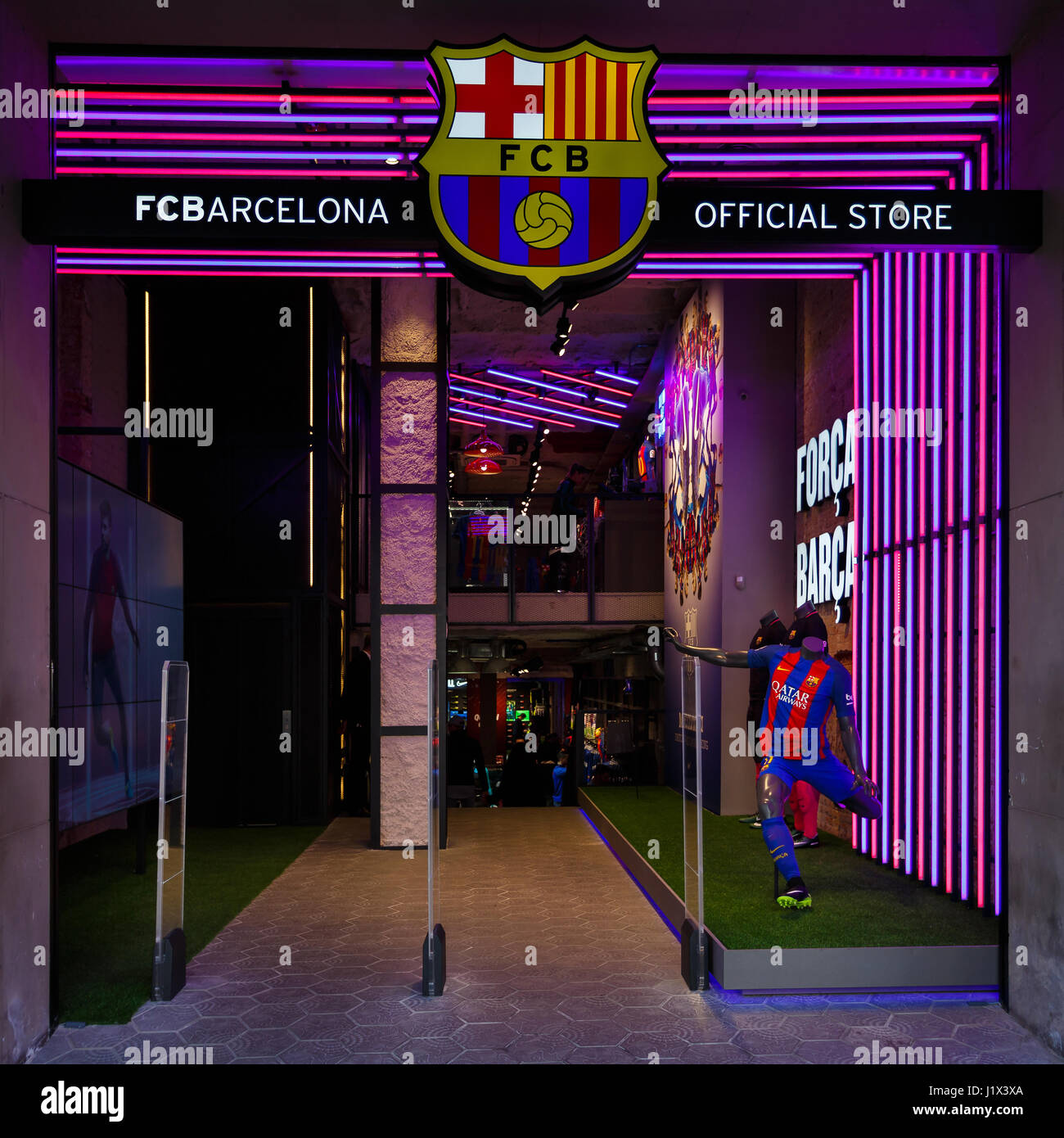 Barcelona, Spain - January 02 2017: Entrance to official store of football club Barcelona, located on the Passeig - Stock Image