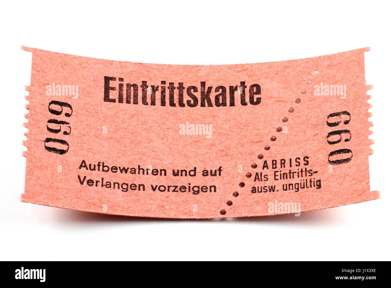 german admission ticket isolated on white background stock photo