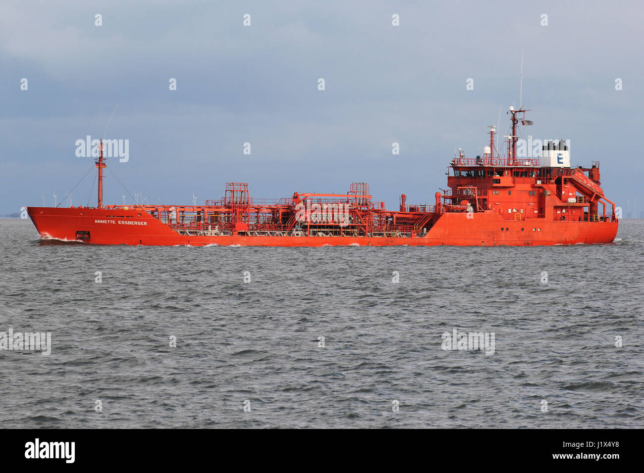ANNETTE ESSBERGER on the river Elbe. Essberger Tankers is a leading operator of chemical tankers within Europe. - Stock Image