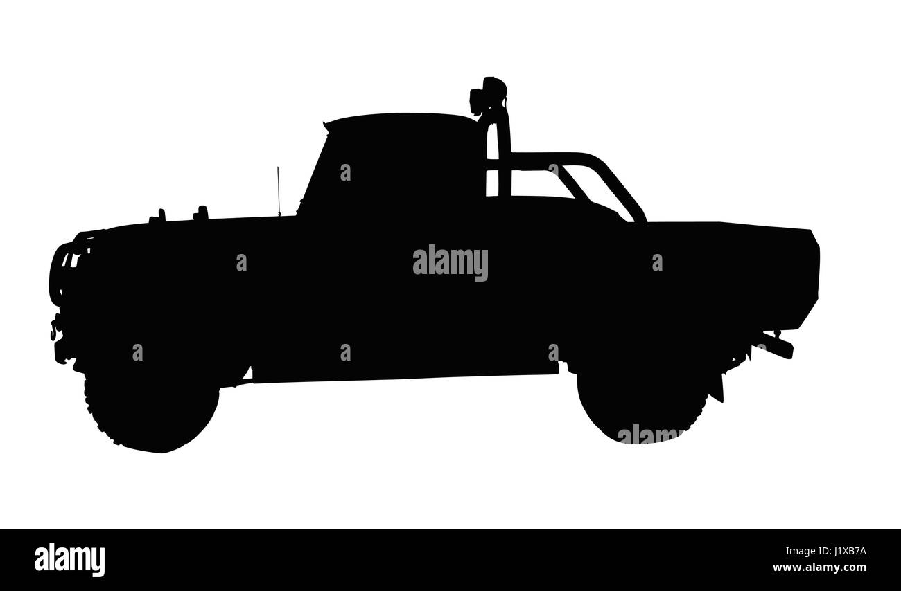 Small Type Vintage 4x4 Pick Up Truck Silhouette