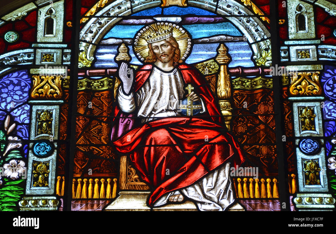Jesus christ on throne stock photos jesus christ on throne stock lord jesus on throne depicted in stained glass window stock image altavistaventures Choice Image