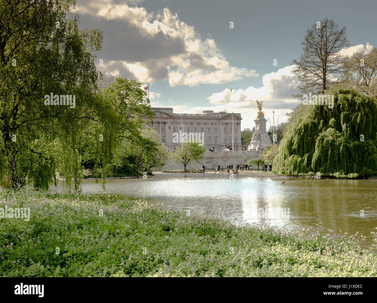 Buckingham Palace from St. James's Park, London, England, United Kingdom - Stock Image