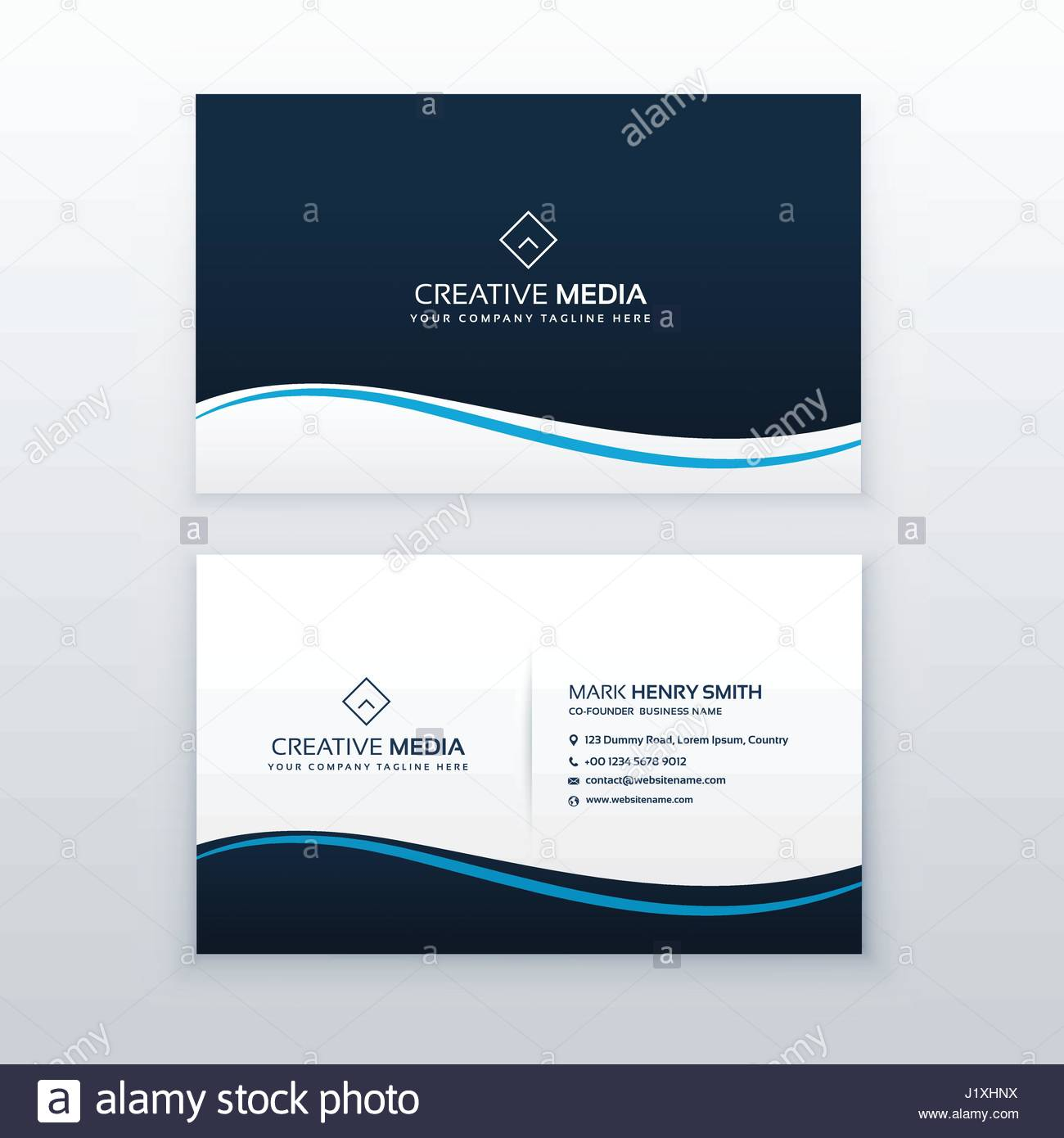Minimal wavy business card design template stock vector art minimal wavy business card design template reheart Image collections