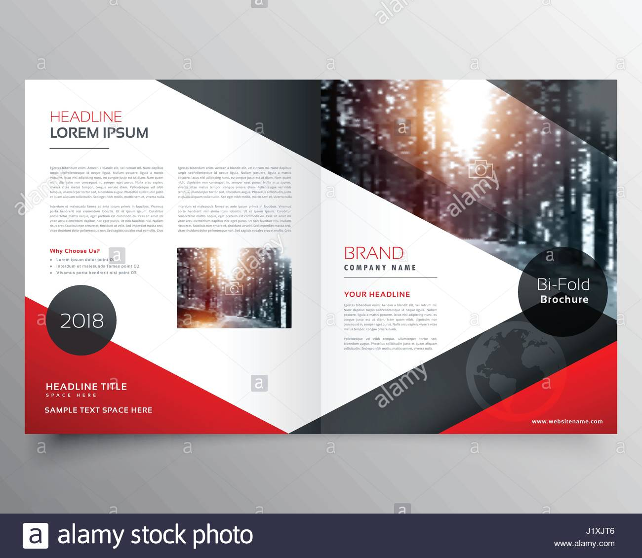 creative red and black bifold brochure or magazine cover page design stock vector art